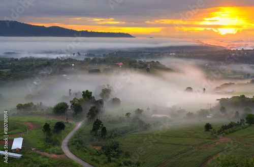 Fotobehang Thailand Morning view point with mountain mist and road in Khao Takhian Ngo most famous travel place at phetchabun in thailand