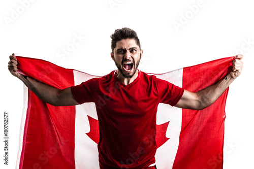 Foto op Canvas Canada Canadian athlete / fan celebrating on white background