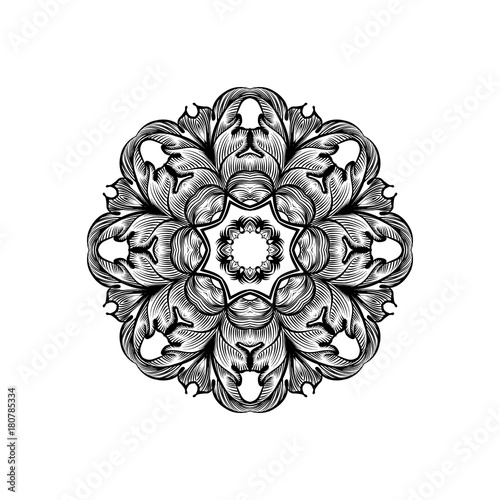 Creative mandala design.  Black and white mandala. Hand drawn element. Anti-stress coloring page for adults - 180785334