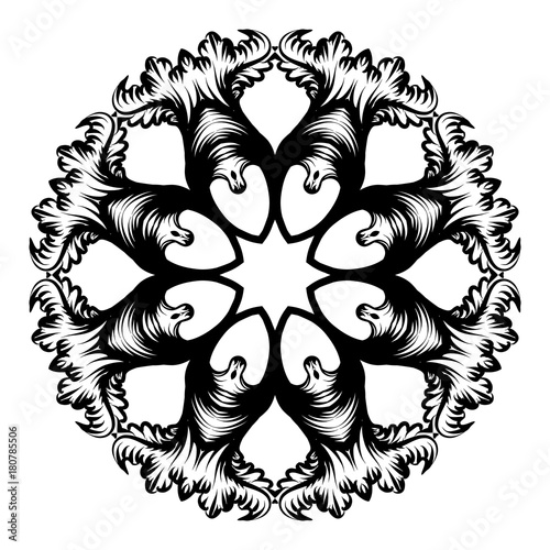 Foto op Canvas Vlinders in Grunge Creative mandala design. Black and white mandala. Hand drawn element. Anti-stress coloring page for adults