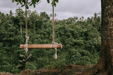 Bamboo swing on the rope at tropical forest background