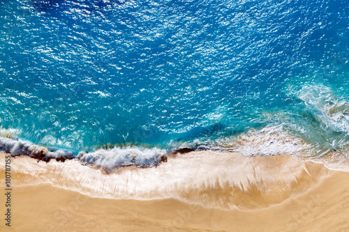 Foto op Canvas Tropical strand Aerial view to tropical sandy beach and blue ocean