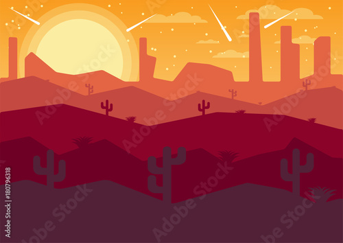 Papiers peints Bordeaux vector Illustrator flat landscape desert night with comets