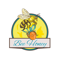 Bee Carrying Honey Pot Circle Drawing