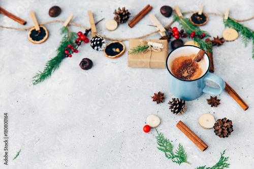 Foto op Canvas Chocolade Hot chocolate. Christmas composition over vintage background