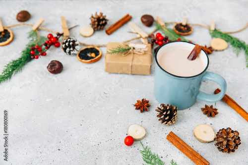 Papiers peints Chocolat Hot chocolate. Christmas composition over vintage background