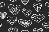 Pattern with doodle hearts
