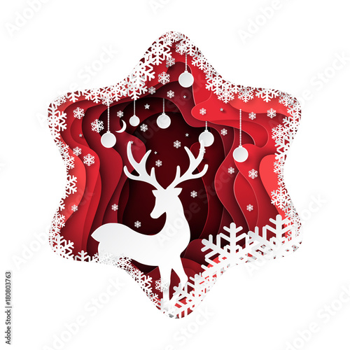 Fototapeta Deer and snowflakes paper art on red abstract background.For merry christmas and happy new year.Vector illustration.