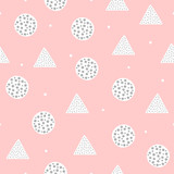 Cute geometric seamless pattern with circles and triangles. Drawn by hand.