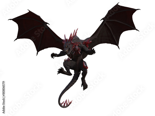 Red Dragon with red crystals isolated on white.