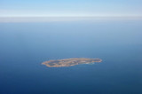 Aerial view of Robben Island (Robbeneiland) off Cape Town in South Africa