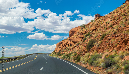 Fotobehang Route 66 Road through the desert. Picturesque highway in Arizona, USA