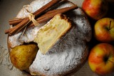 A classic Cornish pie with apples and pears. Photo of ready desart. Top views. - 180821378