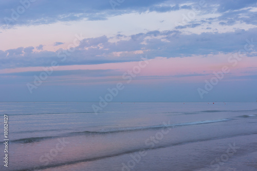 Wonderful, romantic sunrise over the sea, spectacular pink- blue sky at dawn Poster