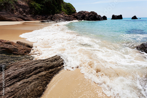 Foto op Canvas Tropical strand tropical andaman seascape scenic off beach with wave crashing on sandy shore.