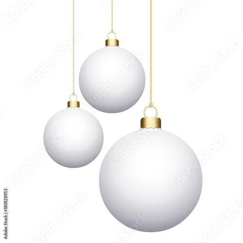 Foto op Plexiglas Bol 3 boules de Noël Blanches