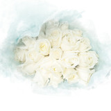 Blossom white roses. Artistic floral abstract background. Watercolor painting (retouch). - 180831739