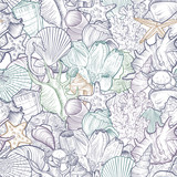 vector seamless pattern with seashells