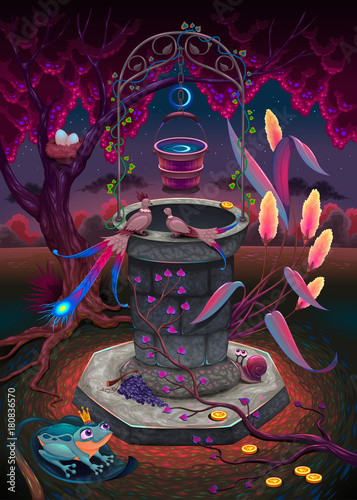 Foto op Canvas Kinderkamer The wishing well in a magic garden