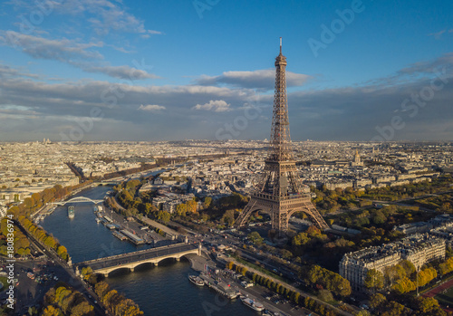 Cityscape of Paris. Aerial view of Eiffel tower