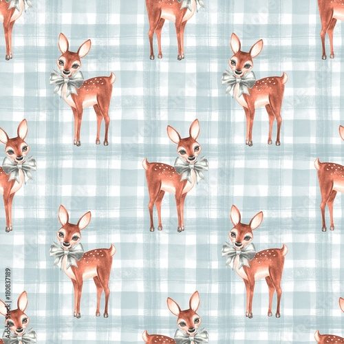 Watercolor pattern with fawns 3