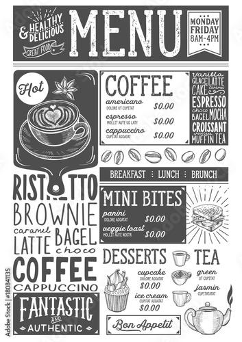 Coffee menu restaurant, drink template.