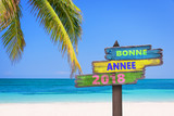 Bonne annee 2018 (meaning happy new year in french) on a colored wooden direction signs, beach and palm tree background - 180841375