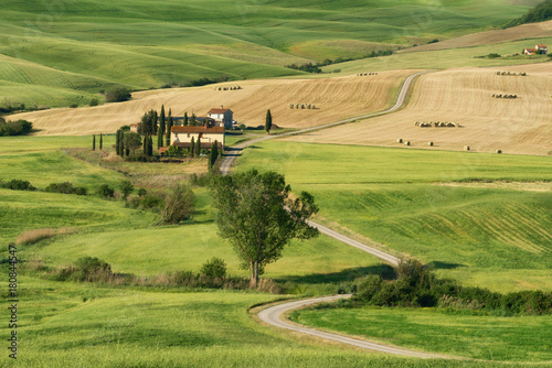 Foto op Canvas Pistache Magnificent spring landscape.Beautiful view of typical tuscan farm house, green wave hills, cypresses trees, hay bales, olive trees, beautiful golden fields and meadows.Tuscany, Italy, Europe