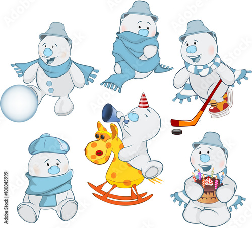 Fotobehang Babykamer Cartoon Illustration of a Funny Christmas Snowman for you Design