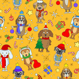 Seamless pattern on the theme of new year and Christmas, funny cartoon dog on orange background - 180847320
