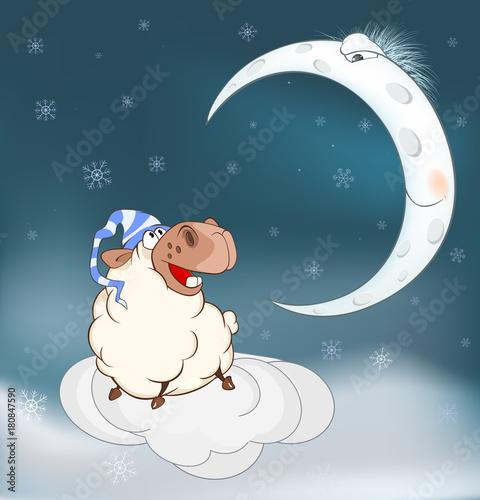 Papiers peints Chambre bébé Lovely lamb and a moon. Cartoon