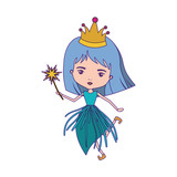princess fairy with crown and magic wand with purple contour