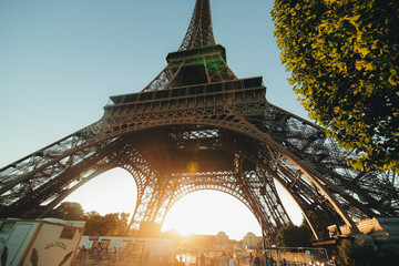 Paris, France - June 19, 2017 View of Eiffel tower and toy tower on the Sunset