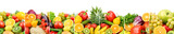 Panoramic collection fresh fruits and vegetables isolated on white background. Wide photo .