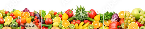 Foto op Canvas Verse groenten Panoramic collection fresh fruits and vegetables isolated on white background. Wide photo .