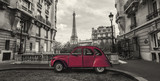 Eiffel Tower in Paris and retro red car at the  Avenue de Camoens - 180857182