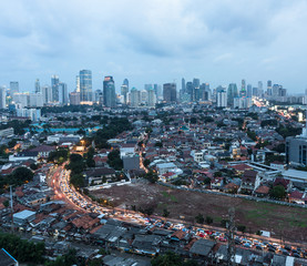 Aerial view of traffic jam in Jakarta, Indonesia capital city