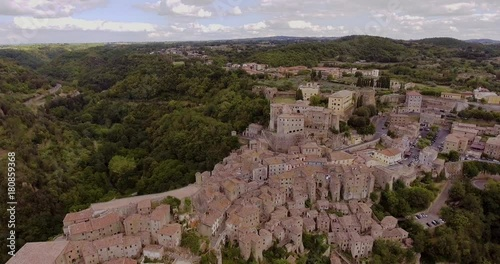 Wall mural Aerial, beautiful town Sorano near Grosseto in Tuscany, Italy
