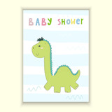 Baby Shower card design. Cute hand drawn card with dinosaur. Printable template