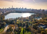 New York panorama from Central park, aerial view poster
