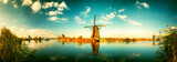 Traditional dutch windmills at sunny day , Netherlands