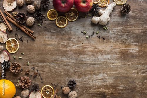 fresh and dried fruits with spices