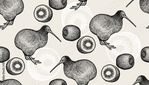 Seamless pattern with kiwi birds and fruits - 180870139