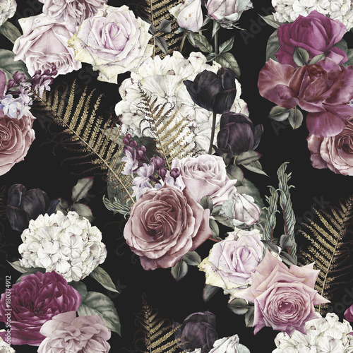 Seamless floral pattern with roses, watercolor. - 180874912