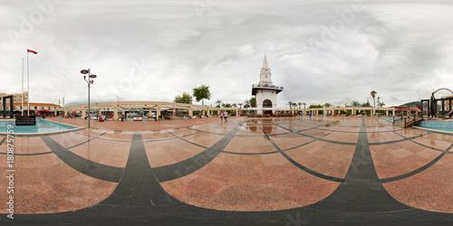 360 degree. Spherical panorama or hdri map. Turkey, Kemer Saat Kulesi. View of Ataturk square.