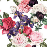 Seamless floral pattern with roses, watercolor. - 180877385