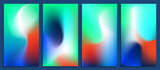Vivid blurred holographic gradient backgrounds, vector colorful posters - 180878972