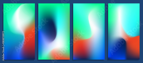 Poster Vivid blurred holographic gradient backgrounds, vector colorful posters