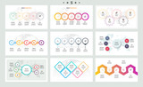 Set of infographic elements. Presentations, graphs, charts, diagrams with 5 steps, options. Vector templates. - 180879316