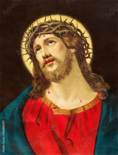 Aluminium Jezus Christus BRATISLAVA, SLOVAKIA, NOVEMBER - 11, 2017: Typical catholic image of Jesus Christ with the crown of thorns printed in Germany from end of 19. cent.